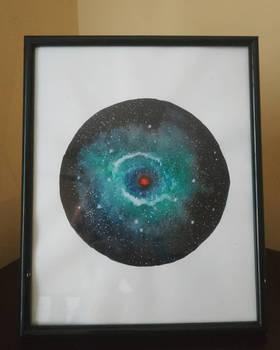 Helix nebula in watercolor