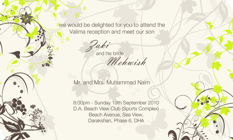 Wedding Card Valima By KamranPU On DeviantArt