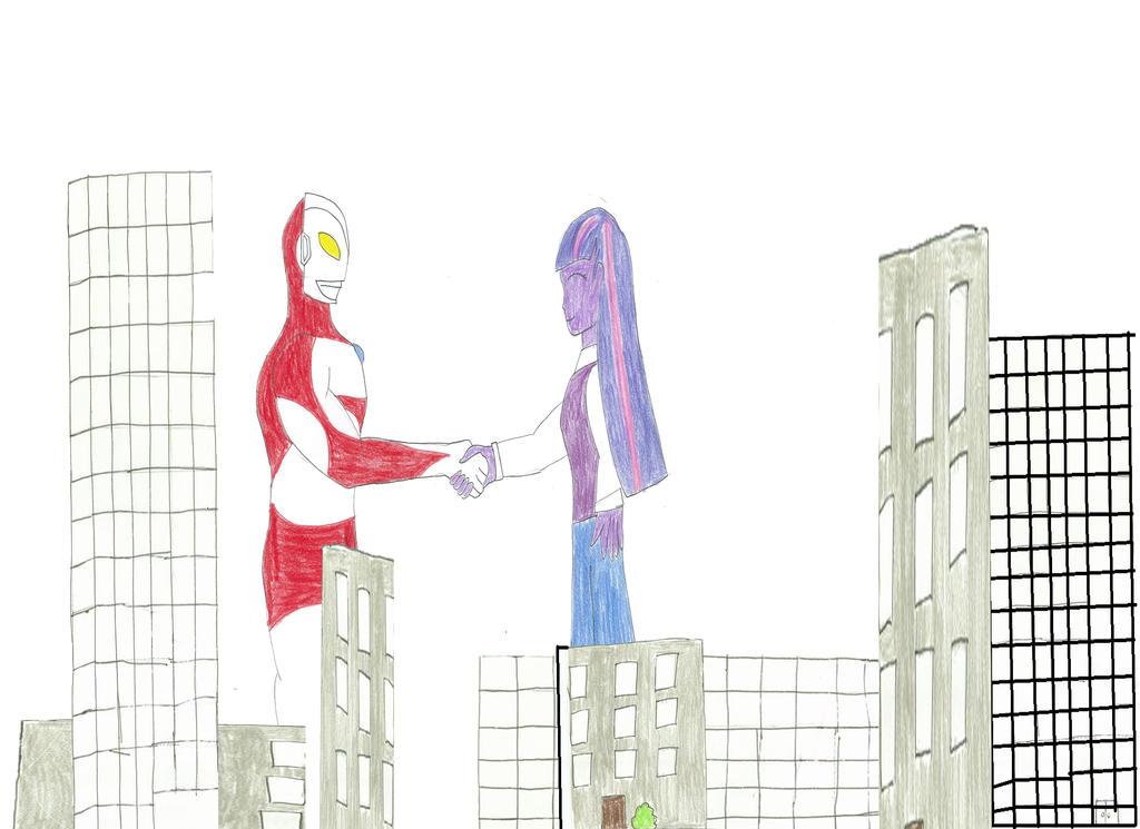 Ultraman Twilight handshake by KingShisa08