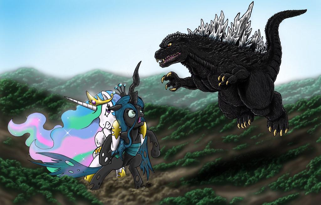Godzilla And Celestia Vs  Queen Chrysalis Re-Post by KingShisa08