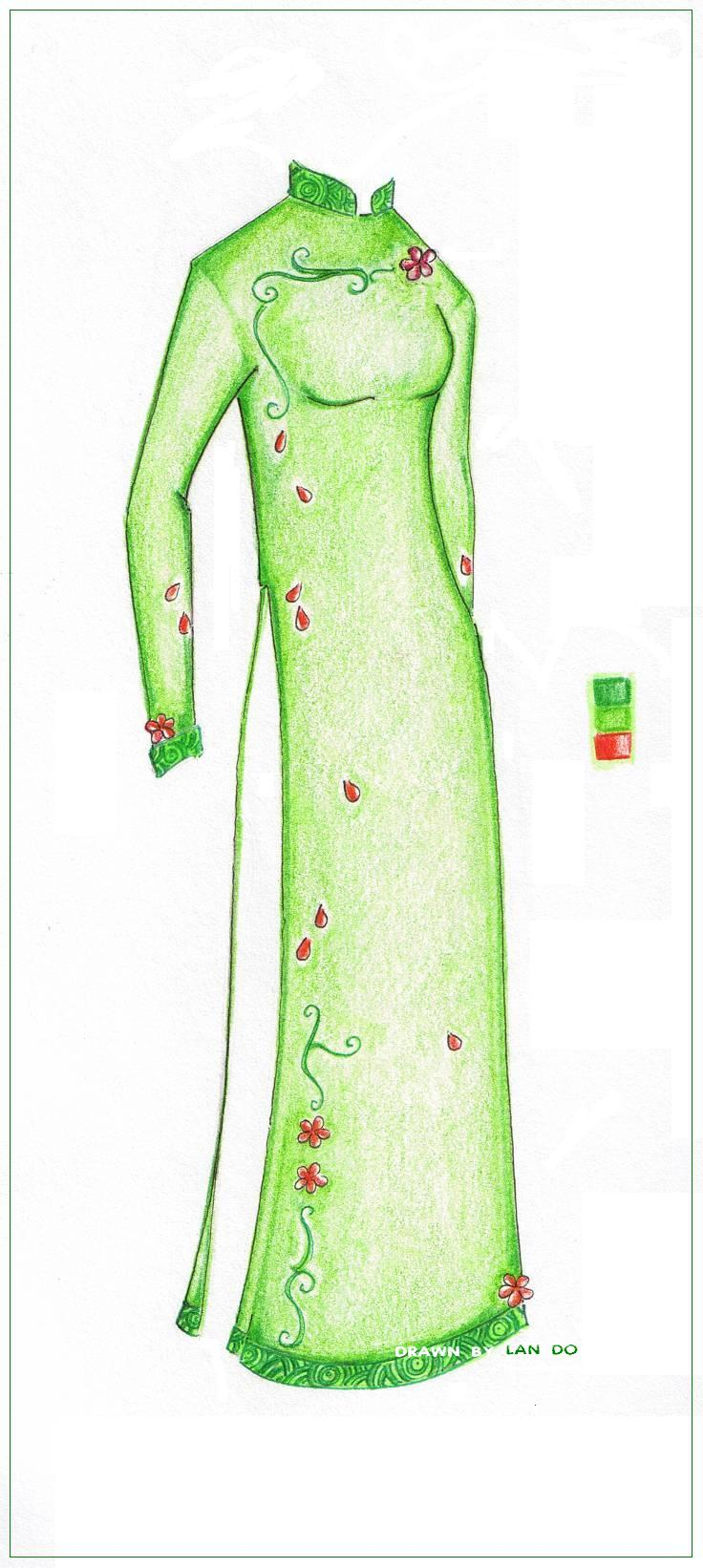 Ao Dai ::green:: by color-me-sapphire on DeviantArt