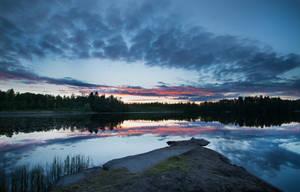 Down Lake at Sunset by Atinaj