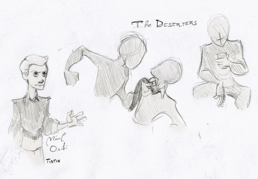 Sketch- Tintin and the deserters by Woodpeckery