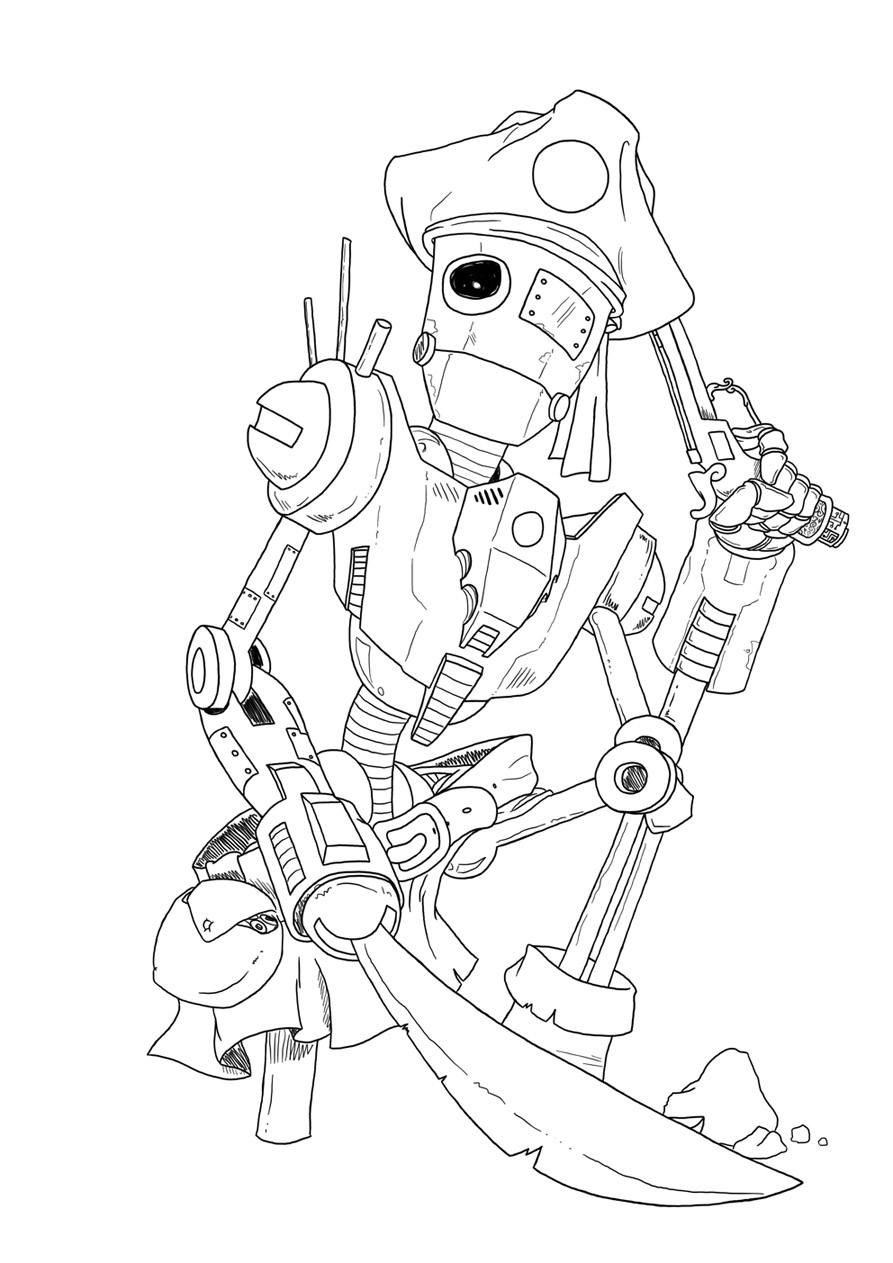 Line Art Robot : Robot pirate lineart by nowakk on deviantart