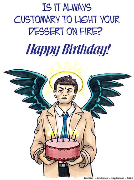 Castiel - Birthday Card by crzydemona