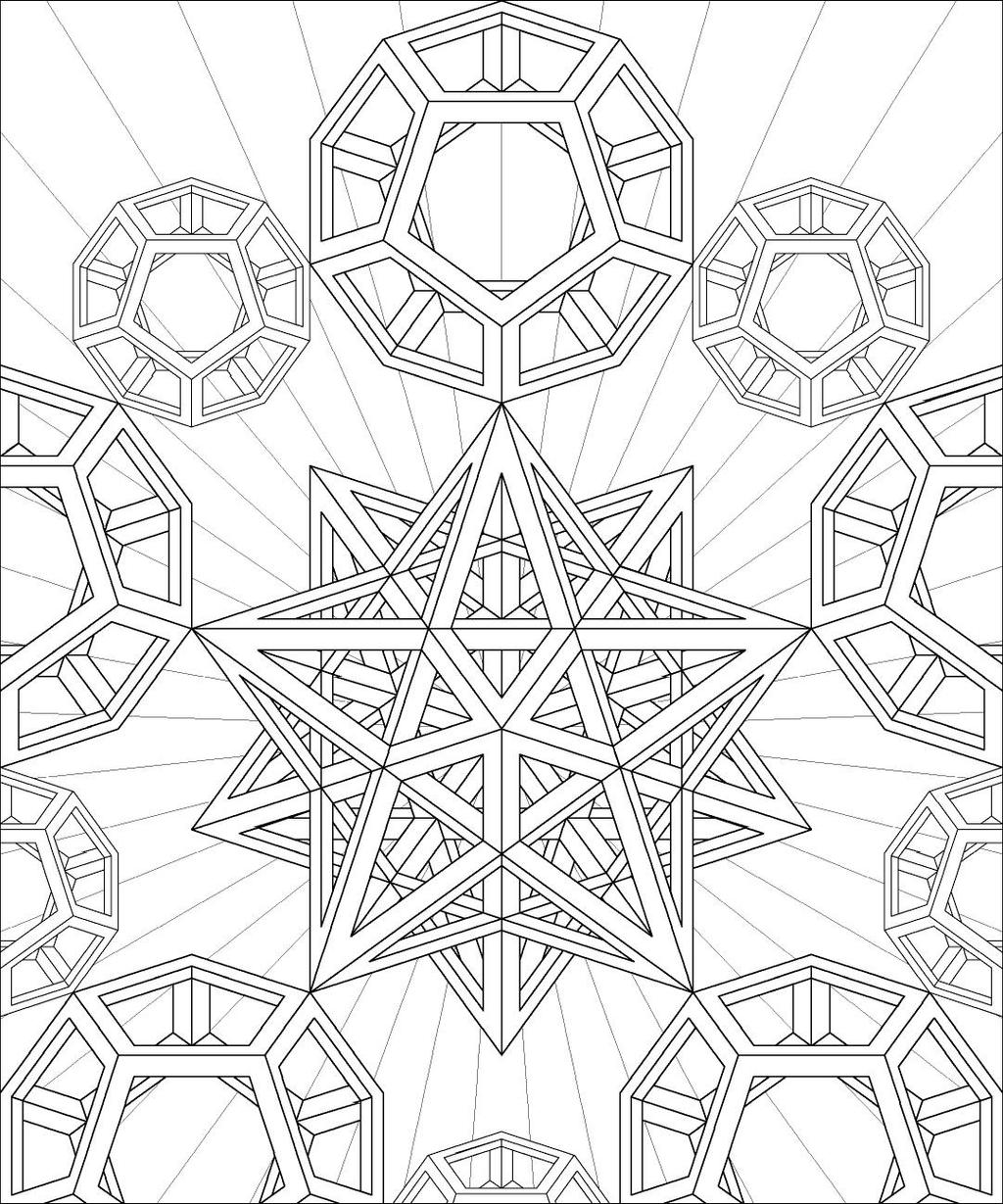 geometric art coloring pages - stellated dodecahedron by hop41 on deviantart