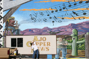 Copper News mural WIP2 by Hop41