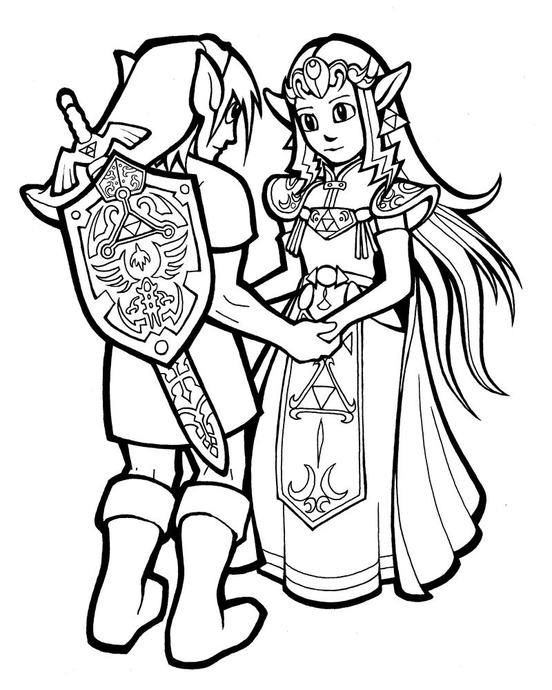 Link and zelda by hop41 on deviantart for Zelda coloring page