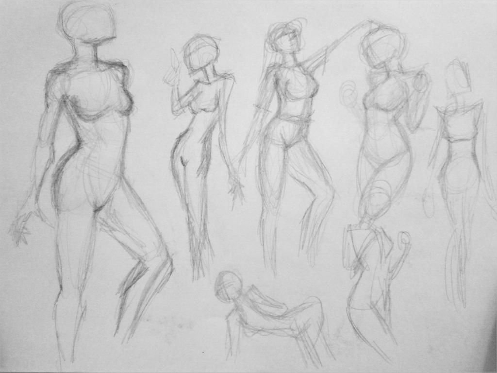 Line Art Figures : Pencil figure study sketchbook by artcresc on deviantart