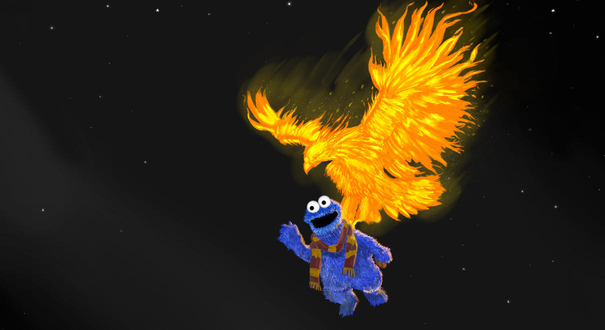 Cookie Monster and the Phoenix -Griffondor edition by RedGeOrb