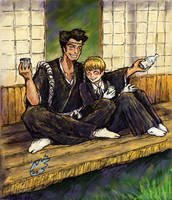 Bleach:Sentaro and Kiyone by SepiaCoerulea