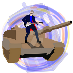 Doctor Who Riding A Tank Playing Guitar