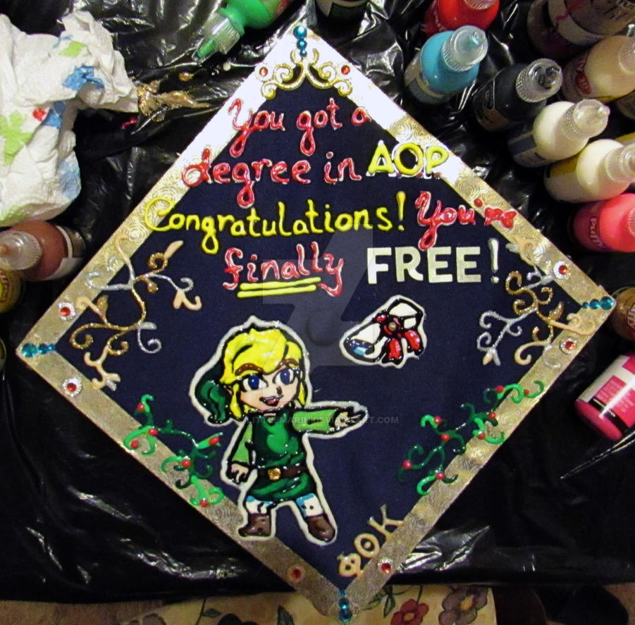 Toon Link Graduation Cap by LittleMarin