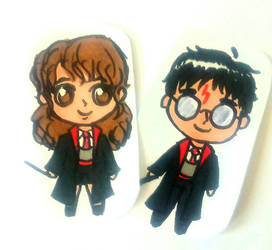 Harry Hermione Chibi