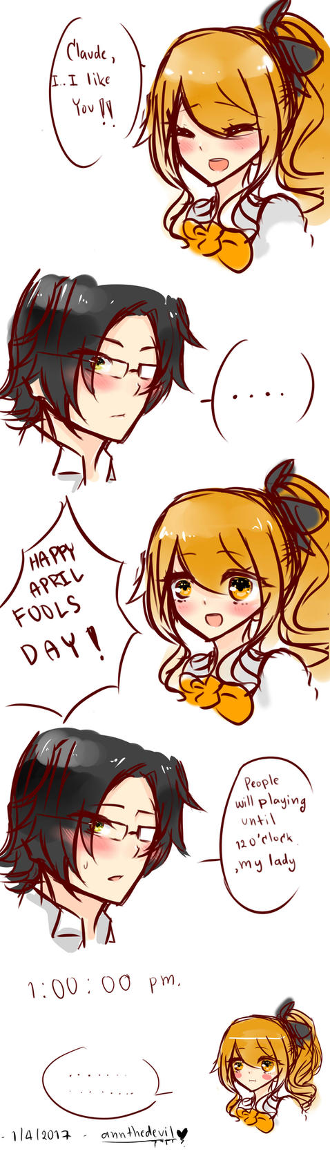 April Fools Day  (( Claude x Amanda )) by annthedevil