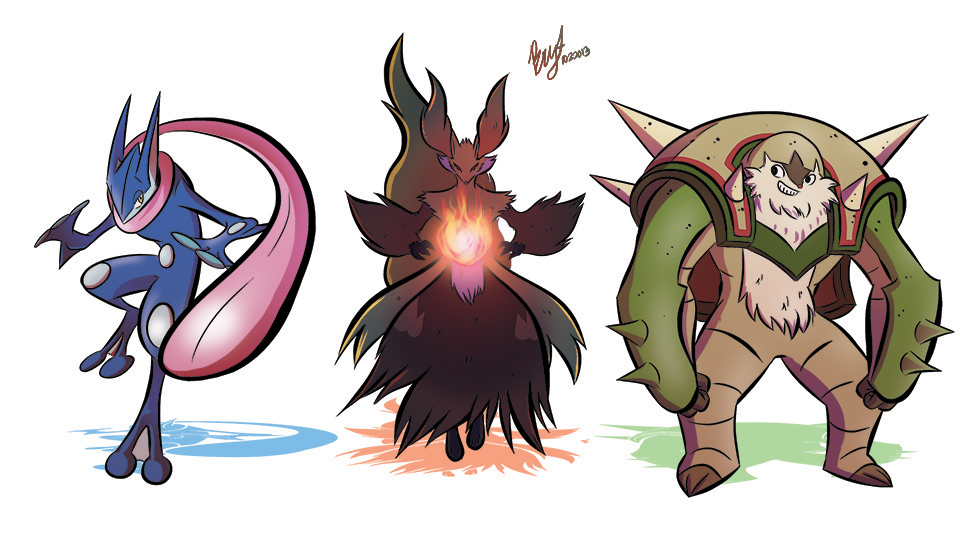 Greninja, Delphox, and Chesnaught by DaILz