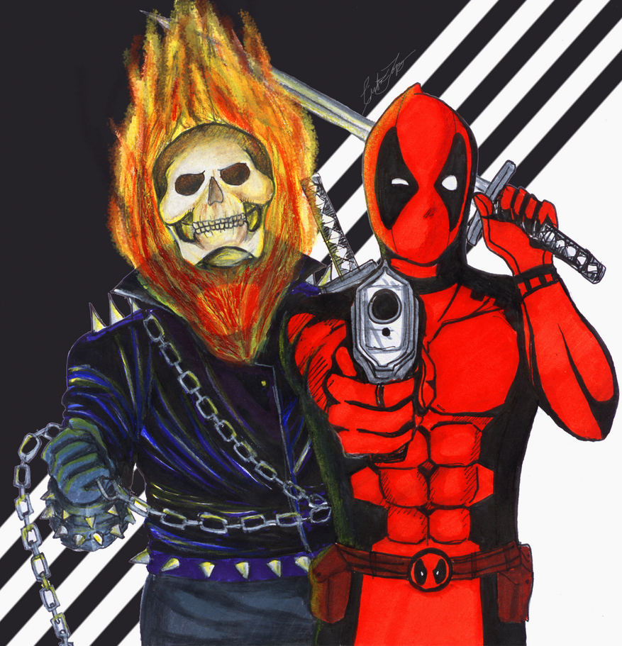 Ghost Rider and Deadpool by helplessdancer
