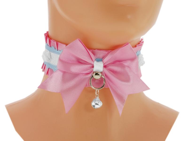 Pink satin Kitten Collar, Kitten Play Collar, by Eusebie