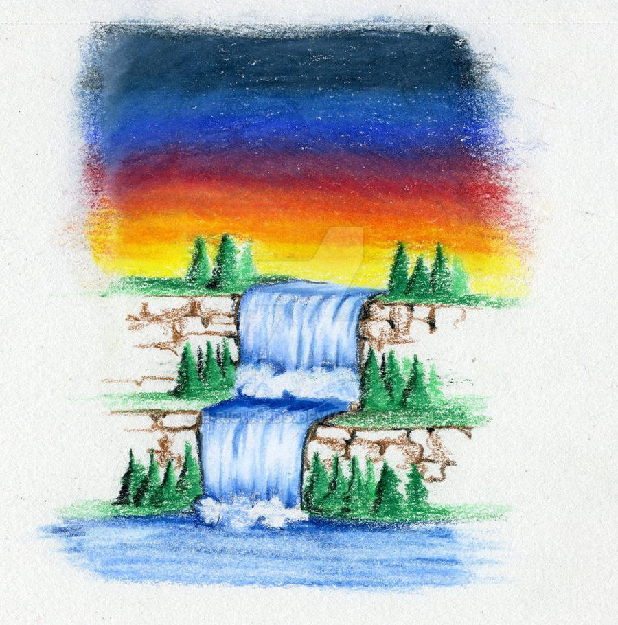 Waterfall - Color Pencil 2011 by B-Richards on DeviantArt