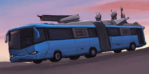 Post apocalyptic articulated bus