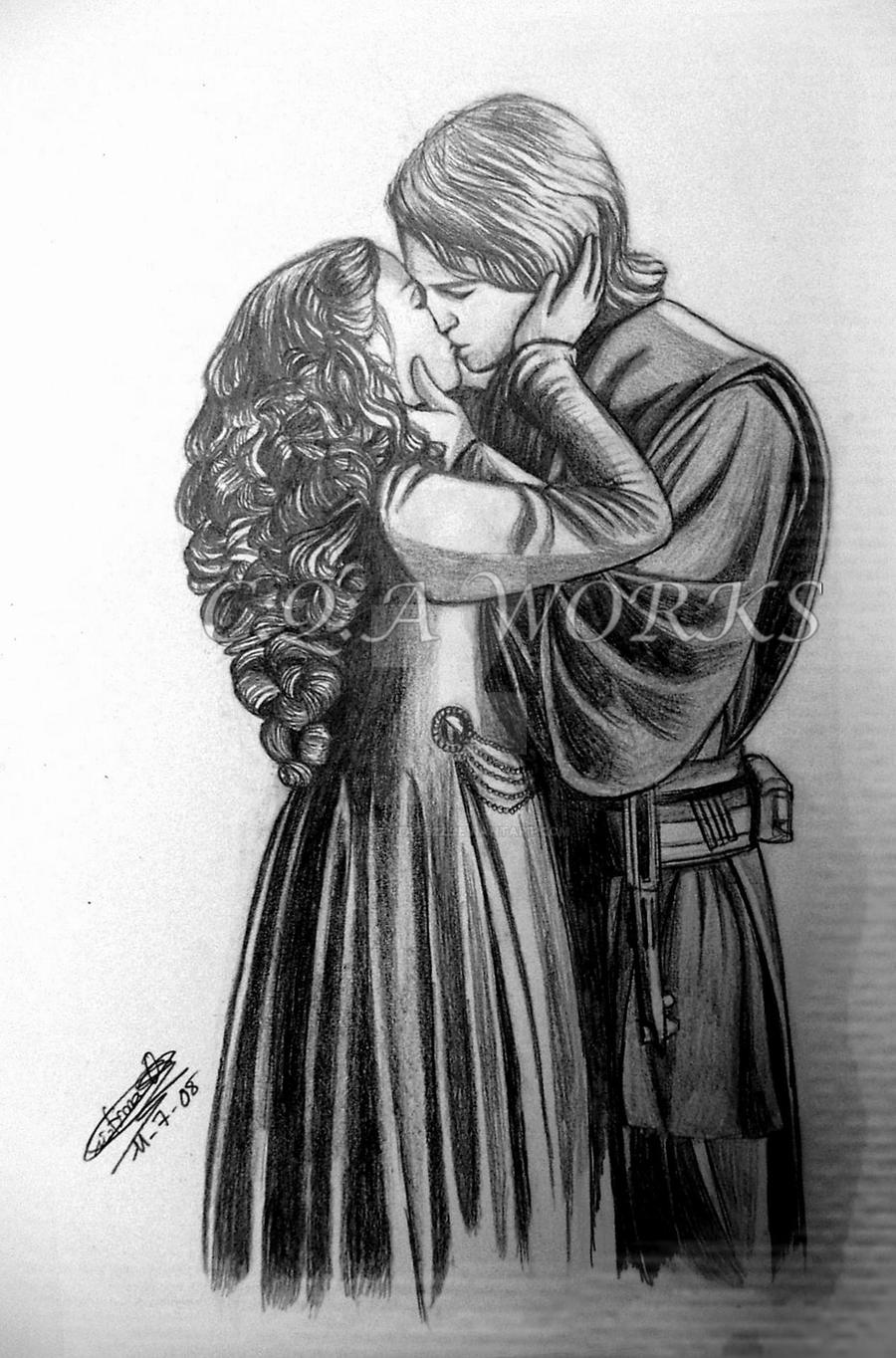 anakin and padme kissing by acrosstars22