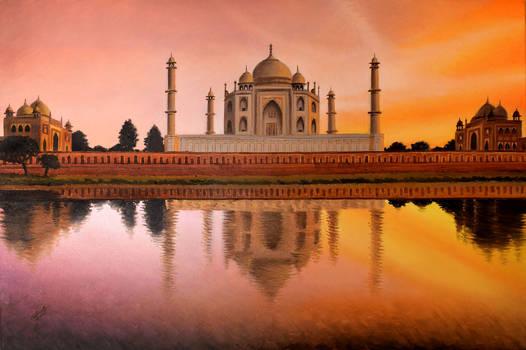 Taj Mahal romantic sunset