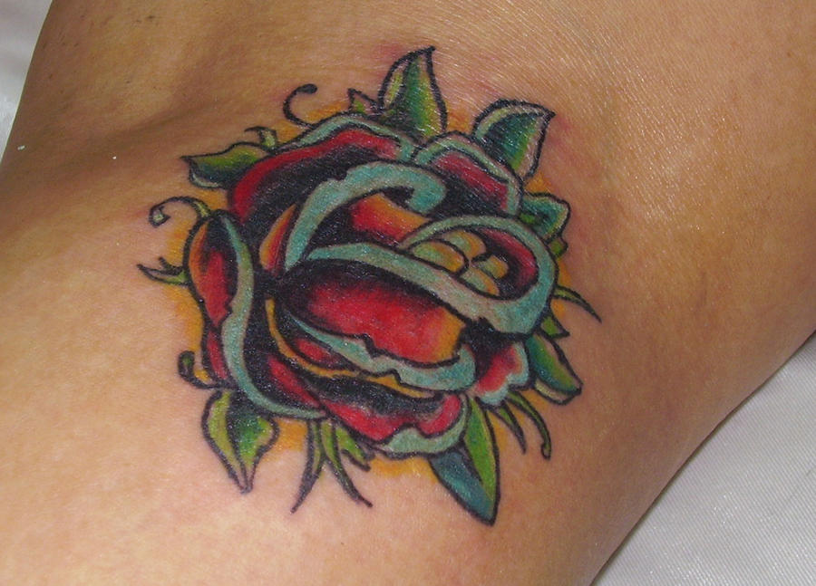 Rose Traditional Tattoo: Traditional Rose Tattoo By Abelmanthra On DeviantArt