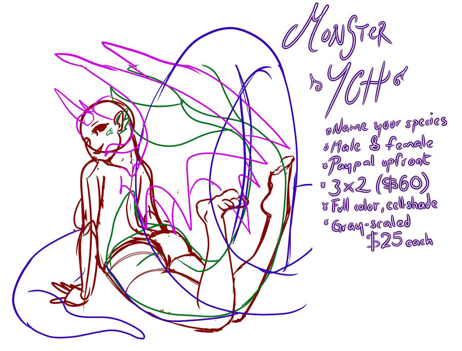 [OPEN] YCH monster! by falcoDArgento