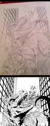 Zombie Dino Pin-up, the process by DanJackota