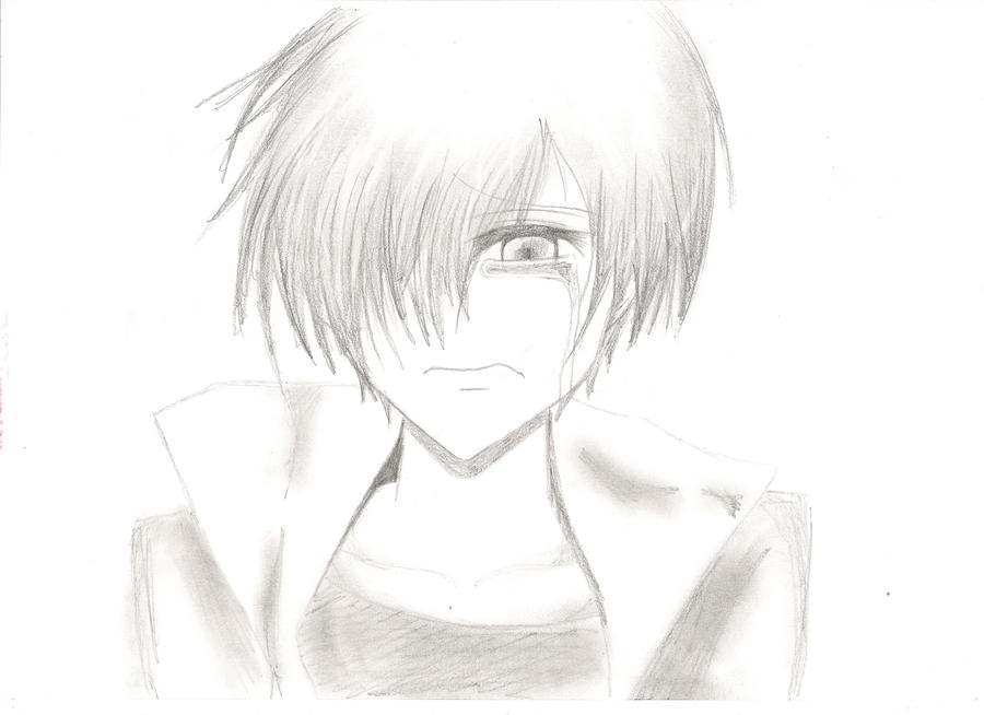 Anime sad boy drawing