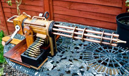 Home built Steampunk Gatling gun. by steampunk-willy64