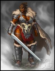 Ulla, Half-Orc Barbarian by Trollfeetwalker