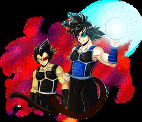 Veg and Kaka in Saiyajin Armor by X-xChiChix-X