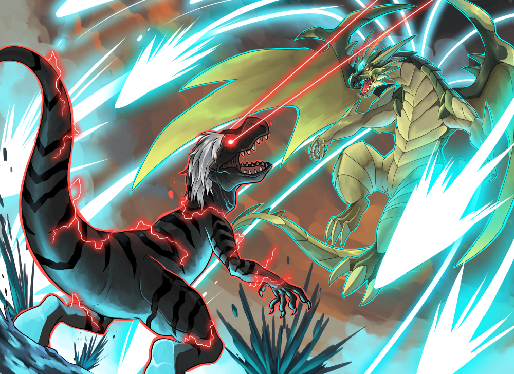 Commission: Devil Raptor B VS Angel Dragon A by seiryuuden
