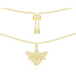 Cubic Zirconia Gold Bumble Bee Necklace