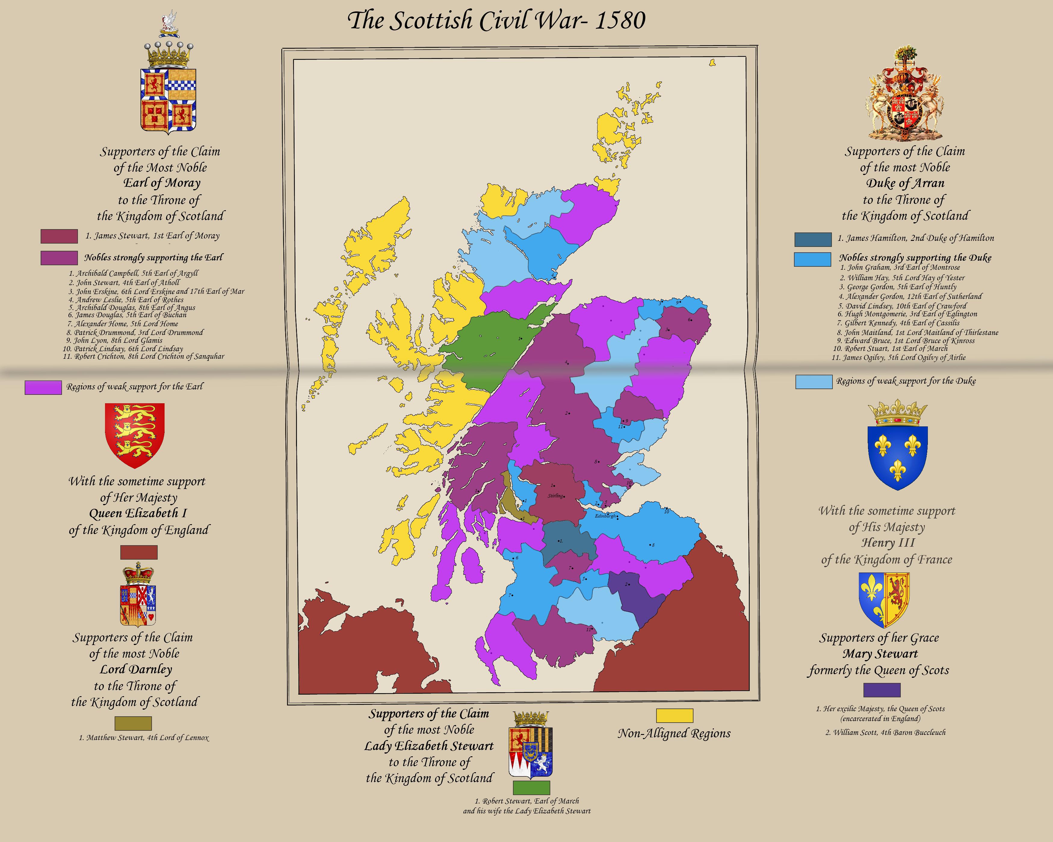 AH: Scotland- Civil War 1580 by ImperatordeElysium