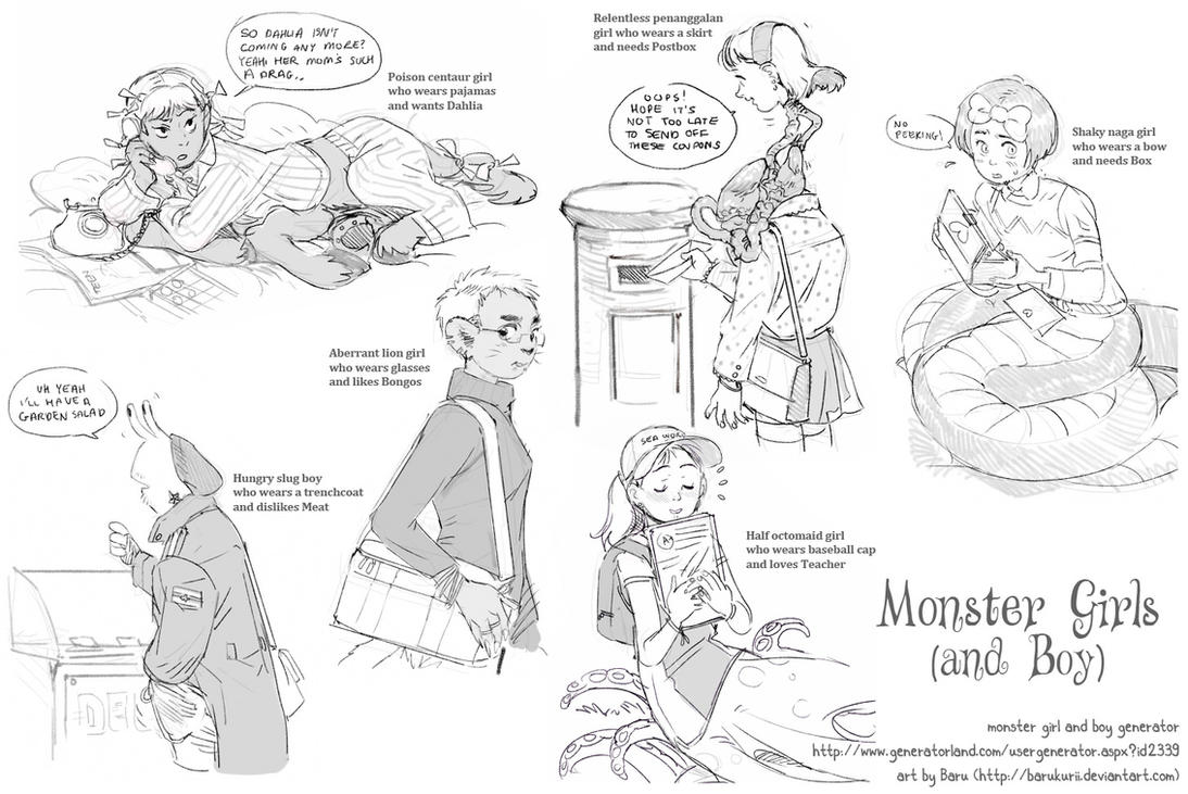 Monster Generator sketches by Barukurii