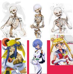 Anime girl skeletons