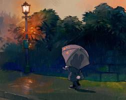 Walking home in the rain by Barukurii