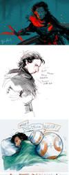 Tiny Star Wars TFA sketchdump by Barukurii