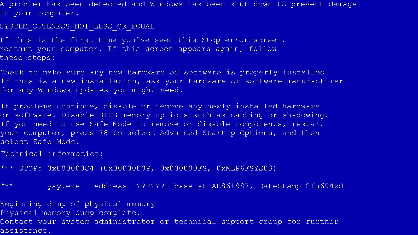Синий экран атикмпаг сис