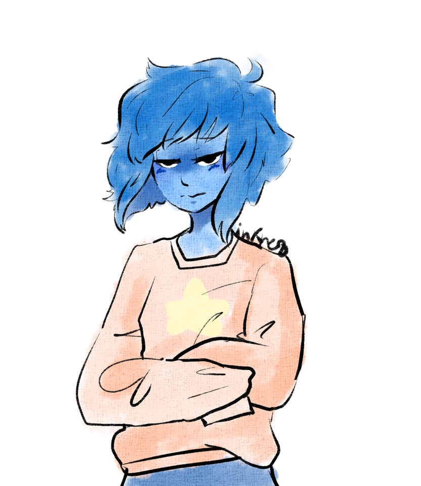 This started out as Lapis in a kimono and ended with her looking pissed in a cozy sweater accurate portrayal of Lapis Lazuli ngl