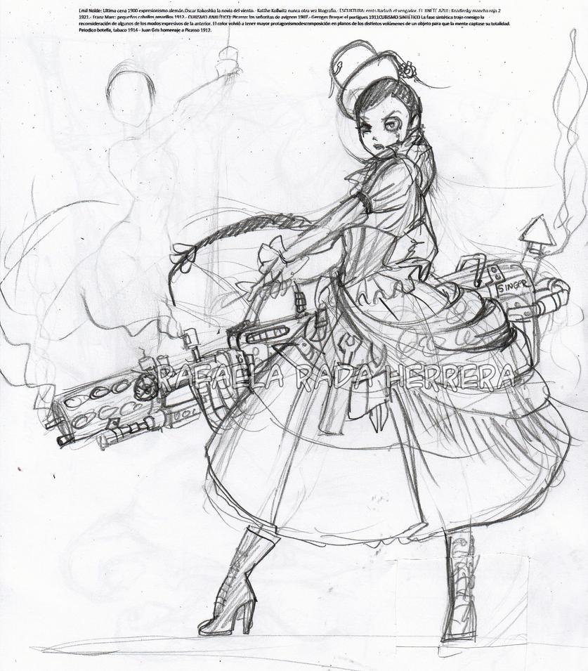 SteamPunk Chola Sketck by Axcido