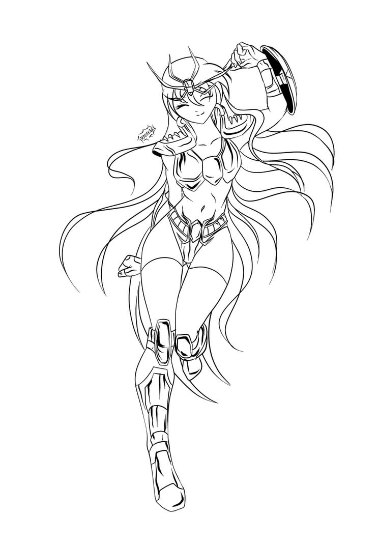 Dragon Shiryu Gender Bender line art by Axcido