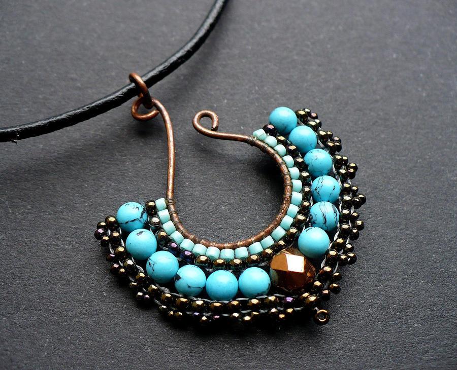 turquoise beaded fan pendant by moonsafaribeads on deviantart