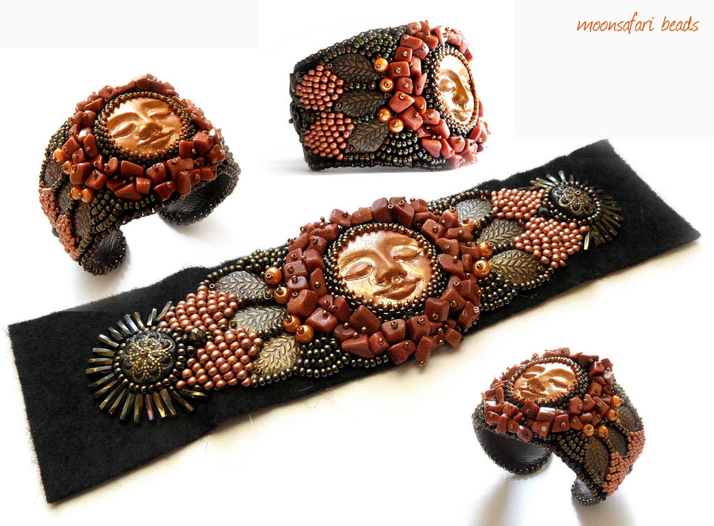 Indian summer cuff bracelet by moonsafaribeads