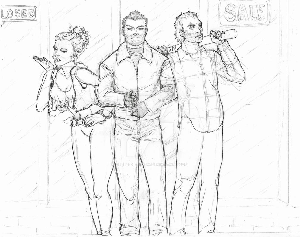 Gta V Past Trio By Ceres De Rehka On Deviantart Gta 5 Coloring Pages