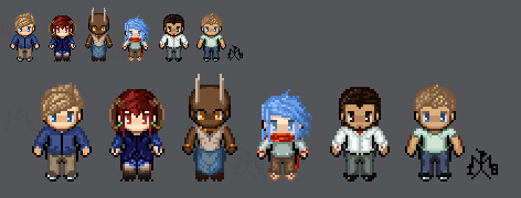 Pixel Characters - the B.D. cast by SunMoonDragoness