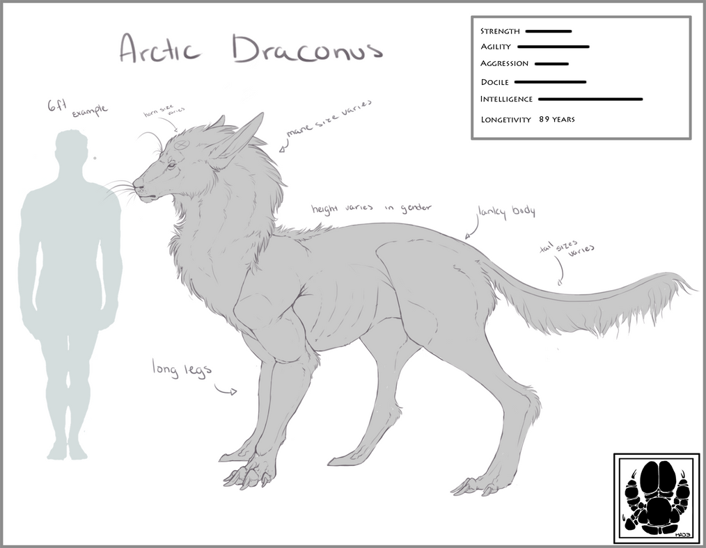 Arctic Draconus Height Reference Sheet. REVAMP by kroeger94