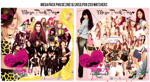 Mega Pack PNG SNSD y 2NE1 (250 Watchers)